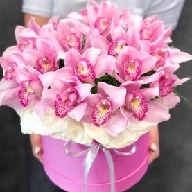 """Шляпная коробка """"Розовые Орхидеи"""" фото"""