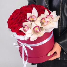 19 Красных Роз (50 см.) и Орхидеи в коробке фото
