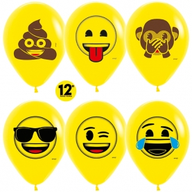 """Воздушный Шар """"Смайлы, Emoji (Озорные)"""", Желтый фото"""