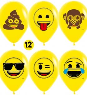 """Воздушный Шар """"Смайлы, Emoji (Озорные)"""", Желтый"""