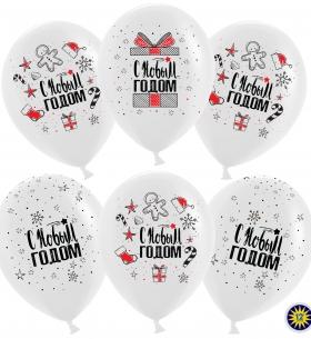 """Воздушный шар """"С Новым Годом!"""" (снежинки и подарки), Белый"""