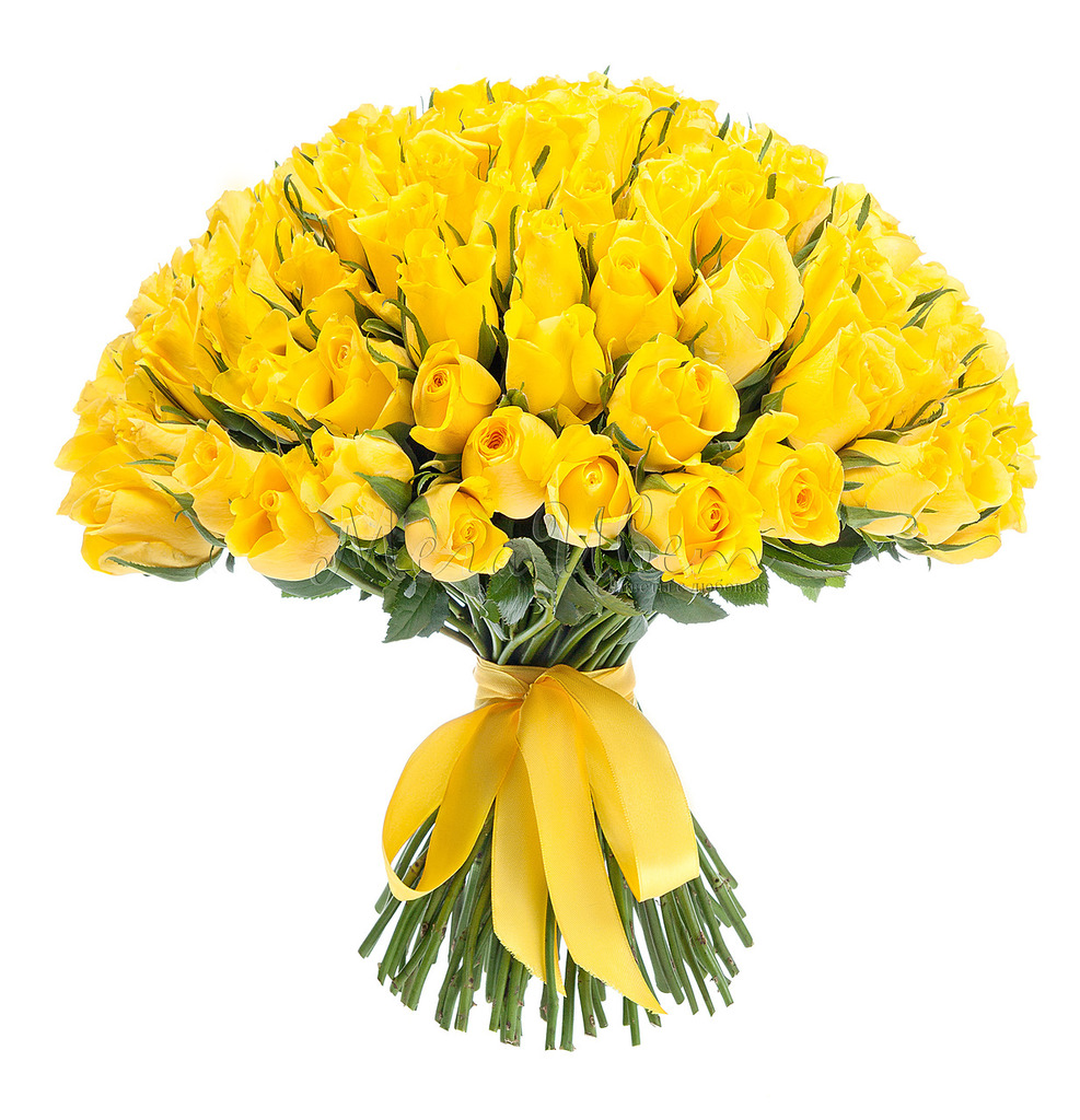 Букет Желтых роз, 101 шт фото