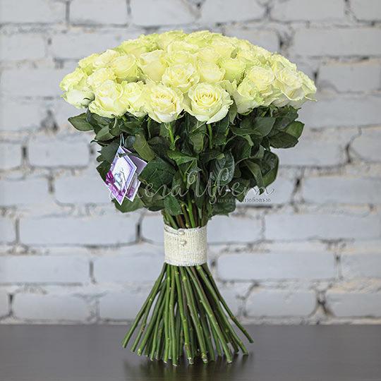 Букет Белых роз, 51 шт фото